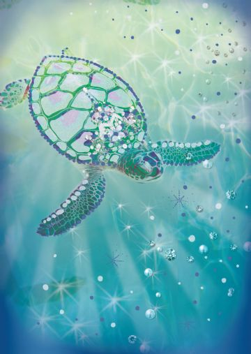 "GREETING CARD BLANK ""JEWELLED TURTLE EMBOSSED DESIGN"" SIZE 4.75""x6.75"" HI0296"